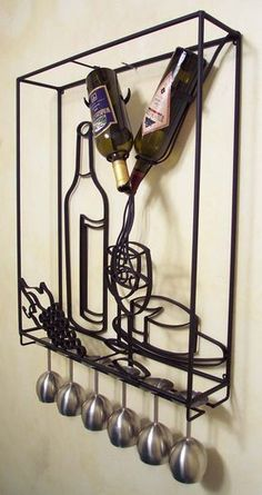 ART_Wine_Rack_Framed_3side (690×1302) Wine Craft, Wine Bottle Crafts, Wine Cellar Design, Horseshoe Art, Iron Furniture, Wine Bottle Holders, Welding Art, Metal Crafts, Wall Hanger