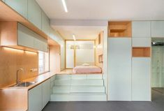 Spanish practice ELII Architects has refurbished this micro-apartment in Madrid adopting a series of smart solution for storage spaces. Small Space Design, Small Space Living, Small Spaces, Madrid Apartment, Apartment Living, Apartment Chic, Apartment Renovation, Apartment Design, Decoracion Vintage Chic