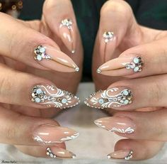 100 BEST NAIL POLISH FOR SEASON 2017 - Reny styles Nail Art Rhinestones, Rhinestone Nails, Gem Nails, Hair And Nails, Fancy Nails, Pretty Nails, Nice Nails, Exotic Nails, Stiletto Nail Art