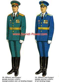 Soviet Army and VDV officers' summer parade dress uniforms.