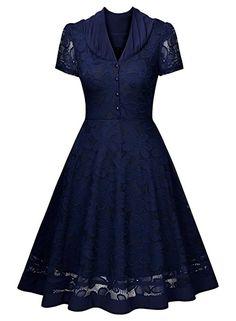 d87b2b9a54 £27.99 - Miusol Women s Deep V Neck Lace A Line Swing Dress