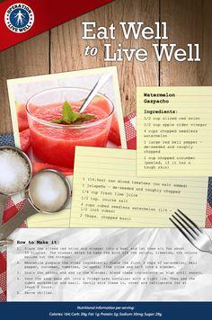 Cool down with this watermelon gazpacho recipe from OLW! #gazpacho #watermelon #summer