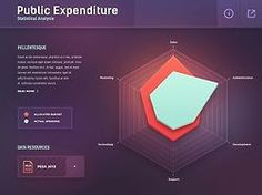 """""""Public Expenditure Statistical Analysis,"""" a radar chart infographic design by Mike Web Design, Game Ui Design, Graph Design, Chart Design, Dashboard Ui, Grafico Radar, Big Data, Radar Chart, Ui Design Inspiration"""