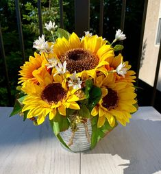 Sunflower Arrangements, Cemetery Flowers, Wax Flowers, Tin Containers, Corrugated Metal, Large Photos, Summer Flowers, French Country, Berries