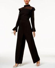 Thalia Sodi Ruffled Jumpsuit, Created for Macy's - Black 18
