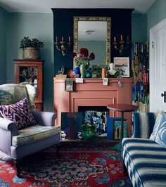 "Discover Your Home Decor Personality: Inspirations for the ""Eclectic Collector."" This style is full of lush and dramatic art pieces, mixed patterns, and high-profile furniture silhouettes."