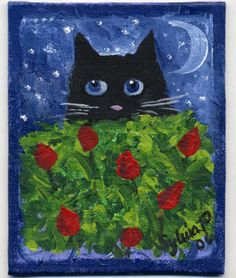 Black Cat in the Tulips Painting at ArtistRising.com