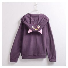 Sailor Moon Luna Artemis Cat Ears Hooded Coat ❤ liked on Polyvore featuring outerwear, coats, sweater pullover, purple coats and purple pullover