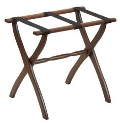 Contoured Leg Luggage Rack - Walnut. This and other hard to find items at The Easy Living Store!
