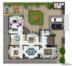 Square House Plans, New House Plans, House Ceiling Design, House Design, Drawing House Plans, Home Decor Hooks, Villa Plan, Architectural House Plans, Fantasy House