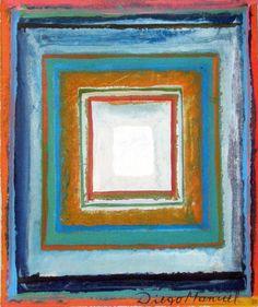 Composición con cuadrados concéntricos, acrylic on canvas, 17,5 x 21 cm. 201. Abstract colorful painting