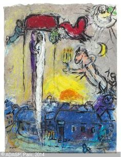 Marc Chagall - Mariés sous le baldaquin dans le ciel du village 1958/60  #MarcChagall  learn more on http://www.johanpersyn.com/category/humanity/art/marc-chagall/