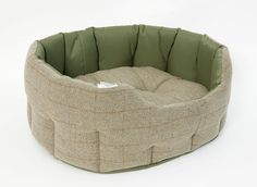 Earthbound Luxury Tweed & Waterproof Bed - with removable base cushion and high sides to keep your dog snuggly and warm