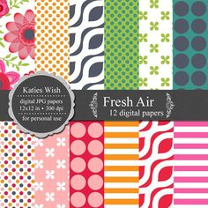 Fresh Air Digital Scapbooking Kit // 300 dpi jpg by KatiesWish, $5.00