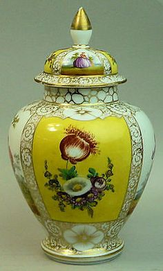 4 of 6: ANTIQUE DRESDEN HELENA WOLFSOHN HAND PAINTED FINE PORCELAIN VASE & COVER C.1890