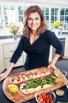 Make long skinny flatbreads, not round. Easier to roll out and cut/serve!    Easy, Dinner Party Recipes From Tiffani Theissen