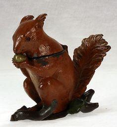 Antique Bergman Bronze Squirrel Inkwell c1900