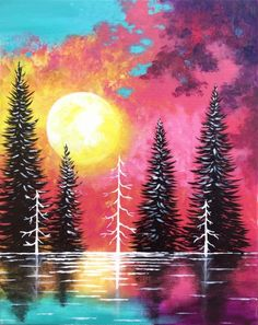 Sunset On The Lake at Heathen Brewing Feral Public House - Paint Nite Events near Vancouver, WA> Sun Painting, Painting & Drawing, Diy Canvas, Canvas Art, Painting Canvas, Canvas Painting Tutorials, Tree Art, Watercolor Paintings, Ink Paintings