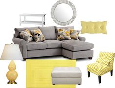 """Contemporary Gray & Yellow Living Room"" by highlyfavored on Polyvore"