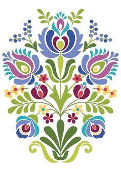 Hungarian Folk Art Blue and Purple Flowers