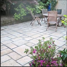 With a slightly riven appearance and carefully blended shades, Bradstone Old Town Paving in Weathered Limestone authentically recreates the appearance of York flagstone. Limestone Pavers, Bluestone Patio, Flagstone, Old Town, Backyard, Landscape, Outdoor Decor, Gardening, Inspiration