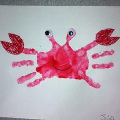 Handprint Crab craft for pre-schoolers