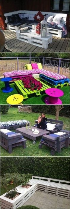 Diy Furniture - Pallet Projects for Your Garden: Check out these 30 Clever DIY Pallet Ideas on W. Pallet Crafts, Diy Pallet Projects, Outdoor Projects, Home Projects, Outdoor Decor, Pallet Ideas, Outdoor Pallet, Pallet Lounge, Pallet Couch