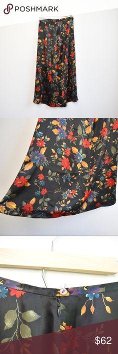 00a4f1e52 Black Floral Patterned Vintage Silk Skirt Black Floral Patterned Vintage  Silk Skirt Brand: Limited America