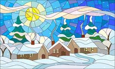 Stained glass illustration with a winter village landscape Royalty Free Stock Photos