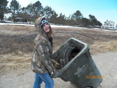 My daughter removing the garbage