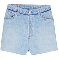 Vetements Pocket fade denim skirt (123675 RSD) ❤ liked on Polyvore featuring skirts, blue, blue skirt, panel skirt and pocket skirt