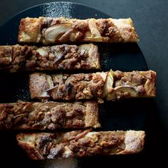 Apple-and-Pear Galette with Walnut Streusel - This free-form galette is so much less fussy to make than a traditional pie. It has great flavor and texture from both apples and pears and the crunchy streusel on top. Using unpeeled apples and pears saves time and cuts down on waste. http://www.foodandwine.com/recipes/apple-and-pear-galette-walnut-streusel