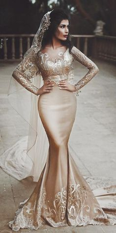 15 Gold Wedding Gowns For Bride Who Wants To Shine ❤️ gold wedding gowns mermaid with long sleeves champagne saidmhamadofficial V Neck Backless Lace Mermaid Cheap Wedding Dresses Online, Cheap Bridal Dresses Rose Gold Wedding Dress, Gold Wedding Gowns, Wedding Gowns With Sleeves, Princess Wedding Dresses, Best Wedding Dresses, Gold Dress, Bridal Dresses, Wedding Bride, Wedding Ceremony