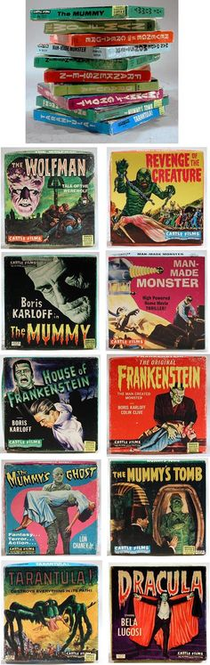 Castle Films, 10 Super Monster Movies in Original Boxes Super 8 Film, 8mm Film, Best Movie Posters, Classic Horror Movies, Classic Monsters, Monster Mash, Scary Movies, Science Fiction, Kid Stuff