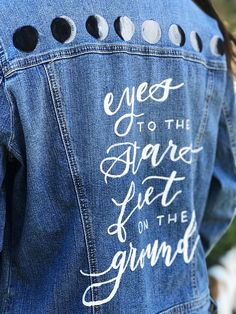 """Feet on the Ground // This hand-painted distressed denim jacket is the perfect statement piece that your closet is missing! - Hand Lettering Font featured by Easy Shop """"Letterfromparis"""" Moon Phases, Distressed Denim, Hand Painted, Trending Outfits, Unique Jewelry, Handmade Gifts, Jackets, Fashion, Custom Leather Jackets"""