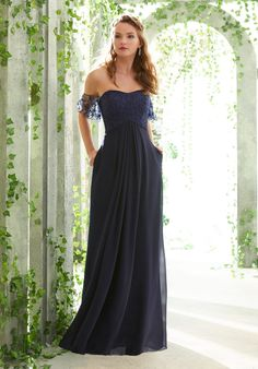 Strapless Chiffon Bridesmaid with Sheer, Off The Shoulder Flutter Sleeves Mori Lee Bridesmaid Dresses, Blue Bridesmaids, Prom Dresses, Wedding Dresses, Reception Dresses, A Line Gown, Strapless Dress Formal, Outfits, Chiffon Skirt