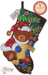 Santa Bear Bucilla Christmas Stocking Kit