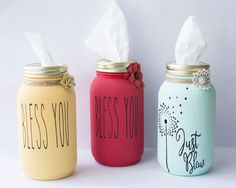 Bless you mason jar tissue holder,teacher's gift, housewarming gift - Crafts Mason Jar Gifts, Mason Jar Diy, Kilner Jars, Wine Bottle Crafts, Jar Crafts, Craft Gifts, Diy Gifts, Diy Holiday Gifts, Diy Crafts To Sell