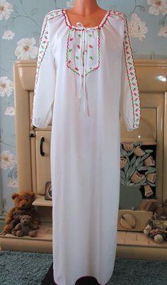Vtg white Victorian style sissy maxi nightgown nightshirt nightie L/XL R10366