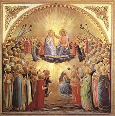 "Painting of the Day! Fra Angelico (1387-1455) ""The Coronation of the Virgin"" Tempera on wood 1430-1435 To see more works by this artist please visit us at: http://www.artrenewal.org/pages/artwork.php?artworkid=21188&size=large"