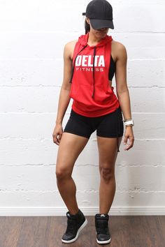 Excuse My Back Delta stringer tank hoodie red Workout Clothes Fitness Outfits, Sporty Outfits, Fitness Fashion, Cute Outfits, Gym Outfits, Fitness Wear, Workout Attire, Workout Wear, Workout Outfits