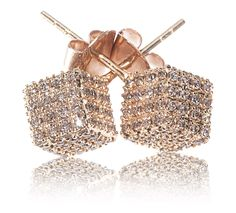 Rose Gold & Champagne Cube Diamond Earrings