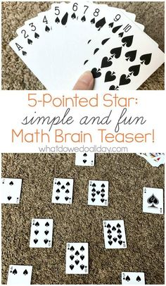 Fun math brain teaser with playing cards. Fun way to practice math. Stretches those kids' brains! Easy Math Games, Math Card Games, Math Activities For Kids, Math For Kids, Fun Math, Steam Activities, Math Magic, Maths Puzzles, Math Worksheets