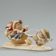 Enesco Heart of Christmas Santa Mouse with Bird Figurine $50=FreeShipUS