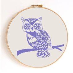 Ornament Owl Silhouette Counted Cross Stitch by SimpleSmart