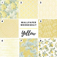 Wallpaper Wednesday featuring yellow wallpaper! All 8 wallpapers are available at Fabric House! Wall Art Wallpaper, Drapery Hardware, Great Paintings, Fabric Houses, Houston Tx, Window Treatments, Wednesday, Wallpapers, Rugs