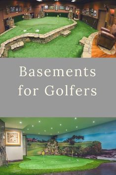 Add a putting green to your mancave and improve your short game! Dont wait until golf weather practice year round at home! For The Best In Golf (For all your golfing neads} Indoor Putting Green, Backyard Putting Green, Home Putting Green, Man Cave Diy, Man Cave Home Bar, Golf Man Cave, Man Cave Basement, Man Cave Garage, Basement Bathroom