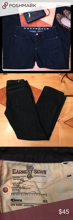 Earnest Sewn Decca Jeans Earnest Sewn Decca Jeans. Dark wash, with a straight leg. 4 pockets, single button closure As new. Made in the USA. Fit is very true to size. Earnest Sewn Jeans Straight Leg