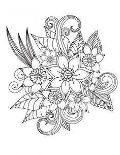 Dessin pour colorier a imprimer pour adulte de fleurs #flowers #flowers #dibujo