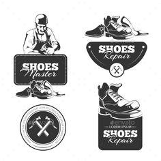 Buy Shoes Repair by Alex_cardo on GraphicRiver. Vector vintage labels set of shoes repair